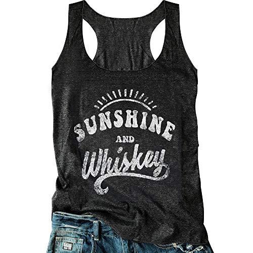 Women Sunshine and Whiskey Tank Top Sunrise Graphic T Shirt Summer Sleeveless O-Neck Casual Tee Tops (XL, Black)