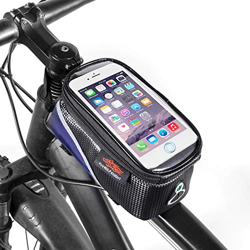 Koopan Fahrrad Rahmentasche, Handytasche wasserdicht, Handyhalterung Fahrrad mit empfindlichem Touchscreen, Oberrohrtasche mit Kopfhörerbuchse für Smartphone