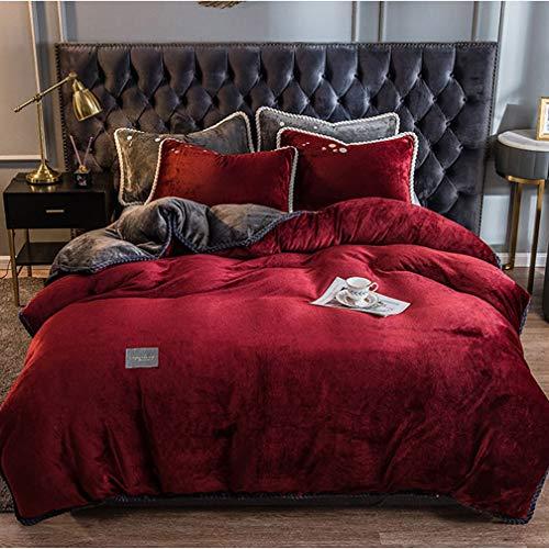 Plush Duvet Cover - Thick Warm Fabric Design,Double-Sided/Solid Color Winter Quilt Cover,Coral Fleece/Reversible/Quilt Cover,Super Soft Single Double Duvet Cover,200 * 230cm,180 * 220cm,1pcs