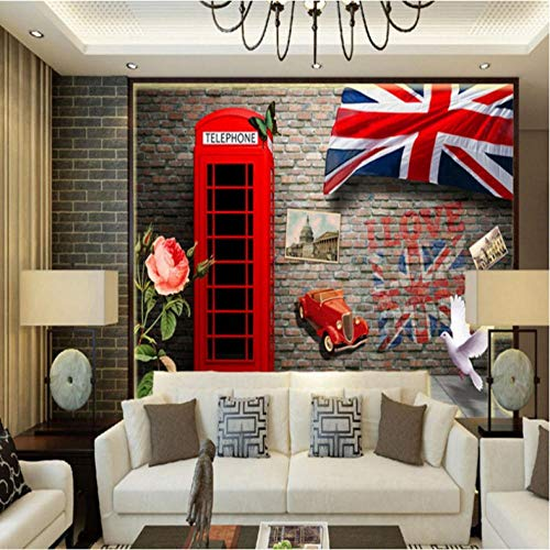ponana Papel tapiz fotográfico 3D estéreo Europa Estados Unidos cabina telefónica retro pared de ladrillo lobby mural papel tapiz personalizado-450X300CM