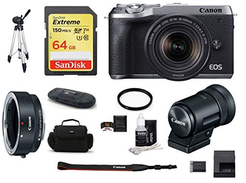 Amazing Deal Canon EOS M6 Mark II Mirrorless Digital Camera (Silver) with 18-150mm Lens and EVF-DC2 ...
