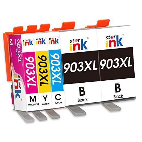 Starink 903xl - Cartuchos de tinta compatibles con HP 903 903XL para HP OfficeJet Pro 6950 6970 6960 (2 negro, 1 cian, 1 magenta, 1 amarillo) 5 unidades