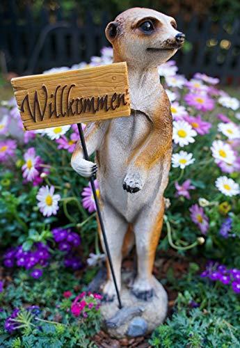 Udo Schmidt GmbH & Co. KG Erdmännchen Willkommenschild Figur Gartenfigur 37 cm Meercat Tierfigur