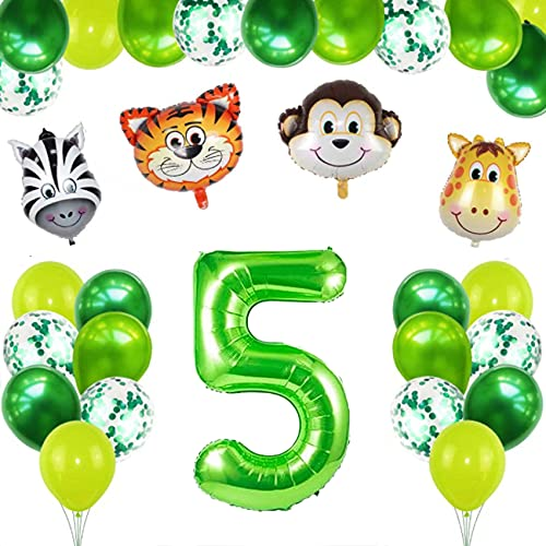Juego de 5 años de decoración de cumpleaños para niños, diseño de selva