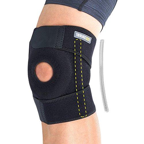 BRACOO KP30 Kniebandage mit Verstärkung - Knieschiene - Knieschutz mit Klettverschluss, Patellaöffnung und Seitenstabilisatoren für extra Halt