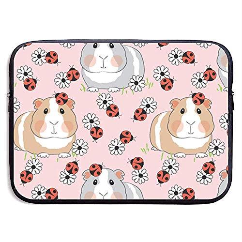 Guinea varkens met lieveheersbeestjes en bloemen op roze 15 inch laptop sleeve tas draagbare rits laptop tas tablet tas