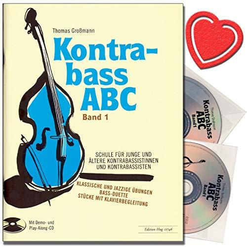 Kontrabass ABC Band 1 – Escuela de contrabajo con 2 CDs – Escuela para jóvenes y mayores sistemáticas de contrabajo – con colorido clip para partituras en forma de corazón