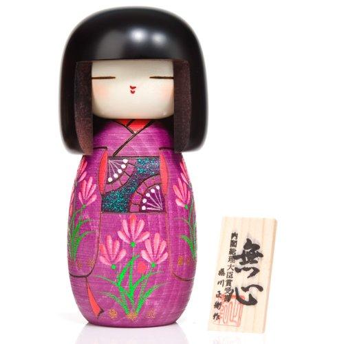 The Japanese Shop Muñeco Kokeshi de madera grande con kimono violeta