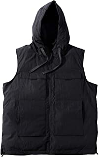 タンクトップ ベストベスト大サイズメンズ冬プラス肥料XL男性用フード付きコットンベストベストルーズベストコットンベストノースリーブジャケットカジュアルベスト (Color : Black, Size : 5XL)