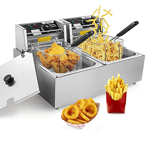 KGK Commercial Deep Fryer with 2 Basket, 3600W 2x6L Large Electric Deep Fryer for French Fries Turkey Restaurant Home, 12.7QT Stainless Steel Deep Frye Countertop Oil Fryer with Temperature Control