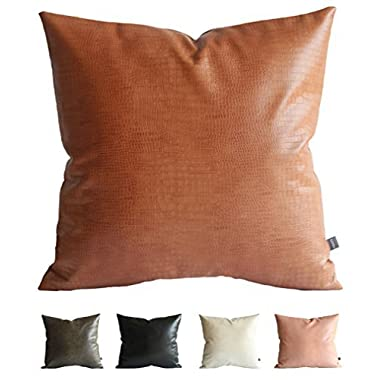 Kdays Faux Leather Crocodile Tan Pillow Cover Throw Pillow Cover Decorative for Couch Cushion Cover 20x20 Inches