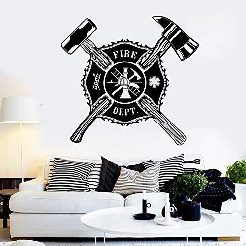 Abkbcw Etiqueta engomada de la Pared del Departamento de Bomberos calcomanía de Bombero decoración del hogar Martillo de Fuego Pegatina de Escalera 57x60 cm