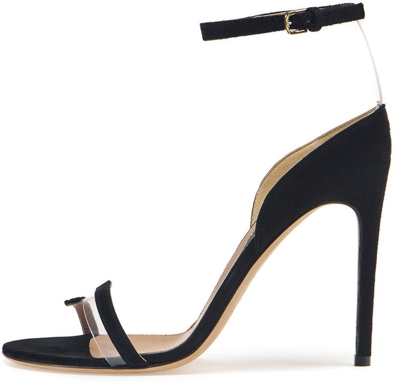 Women's Ankle Buckle Pump Sandals Lady Simple Elegant Dress High Heels