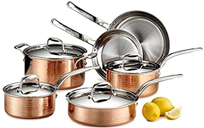Lagostina Q553SA64 Martellata Tri-ply Hammered Stainless Steel Dishwasher Safe Oven Safe Cookware Set