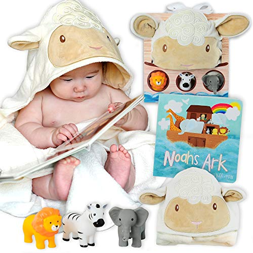 My First Noahs Ark Baby Gift Set - Includes Book, Lamb Hooded Towel, and 3 Squirt Toys. Great for Boys and Girls Newborn Infant and Toddler