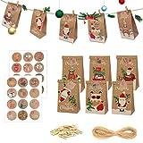 Halcyerdu 24 Pezzi Calendario Dell'avvento Kraft Sacchetti, con 1-24 Adesivi numerici, Calendario avvento Sacchetto Regalo di Natale, per Decorazioni Feste Natalizienatalizie
