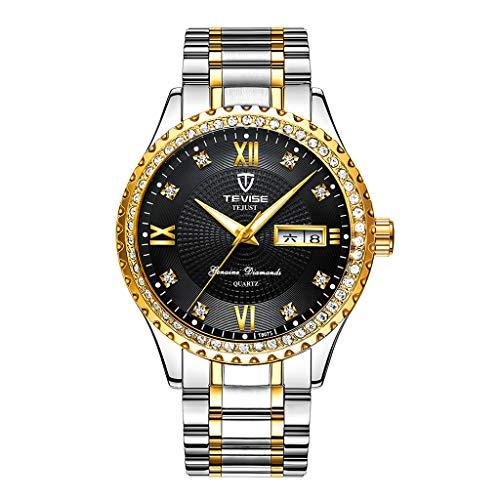 yotijar Reloj de Pulsera para Mujer, único Reloj de Cuarzo Analógico para Mujer - Plata Negro