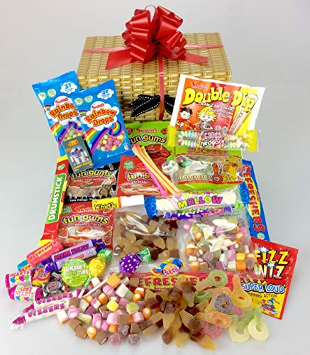Retro Sweet & Chocolate Hamper - Large Selection Wicker Effect Keep Me Gift Box