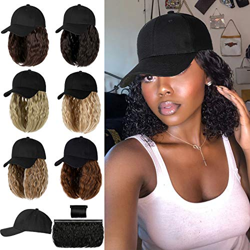 Qlenkay Baseball Cap with 14 inch Wave Curly Short Bob Hairstyle Adjustable Hat Wig Attached Removable Hair Extensions Light Chestnut Brown