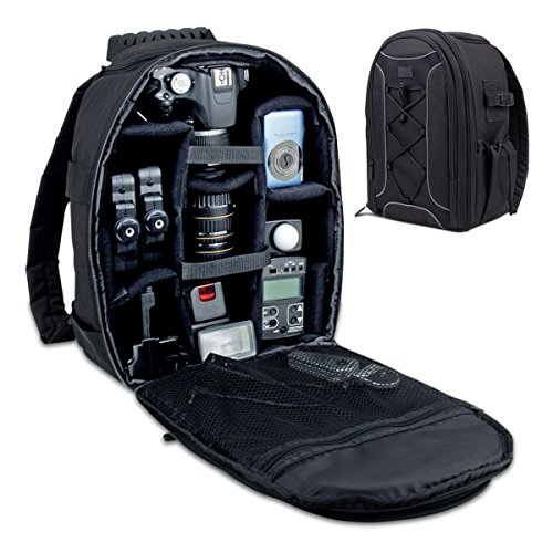 USA Gear borsa custodia zaino per fotocamera con cover antipioggia, tasche personalizzabili e strap imbottiti per fotocamere DSLR SLR - Funziona con Canon EOS 1200D , 700D , 750D / Nikon D3200 , D7000 , D7200 / Sony , Pentax , Olympus , Samsung e altre
