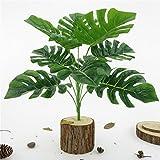 Amesii - Planta artificial con hojas de gran simulación, Monstera, color verde, 1 unidad