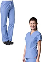 Red Panda V-Neck Two Pocket Top & Half Elastic Pant Scrub Set