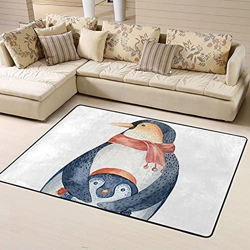 Alfombra de Dormitorio Cute Cartoon Penguin Non Slip Area Rugs 63 X 48 Inch, Carpet for Home Dining Room Playroom Living Room Large Floor Rug Floor Mat