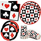 Casino Night Poker Game Party Supplies Tableware Set 24 9' Dinner Plates 24 7' Plate 24 9 Oz. Cups 50 Lunch Napkins for Card Playing Club Heart Spade Black & Red Theme Disposable Birthday Paper Goods