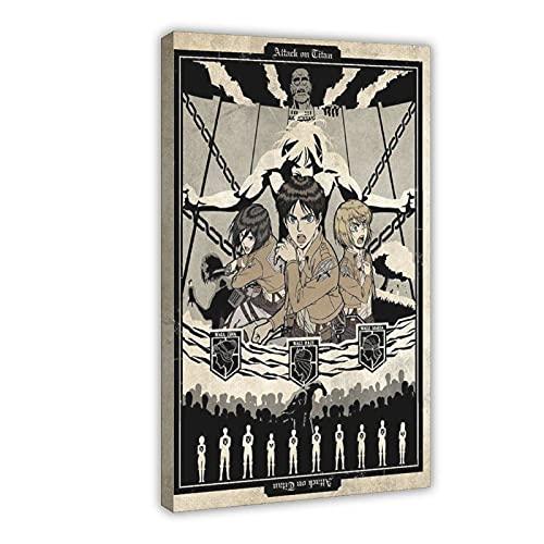 Póster de anime japonés de ataque a los titanes 18 de lona para decoración de dormitorio, paisaje, oficina, decoración de habitación, marco de regalo, 40 x 60 cm