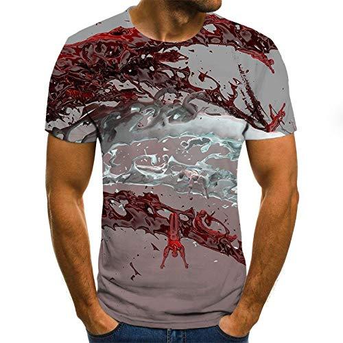 JSWBNMU 3D Impreso Camisetas,Creative Crimson Agua Onda Impresa Camiseta con Cuello Redondo Jersey De Manga Corta Casual Plus Size Verano Camisetas Tops Moda Ropa Pareja Salvaje,2XL