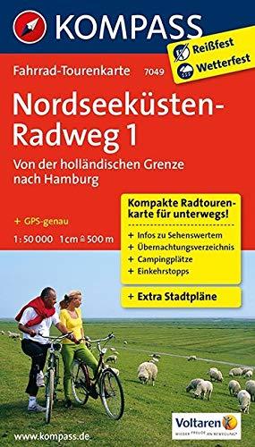 Fahrrad-Tourenkarte Nordseeküstenradweg 1, Von der holländischen Grenze nach Hamburg: Fahrrad-Tourenkarte. GPS-genau. 1:50000. (KOMPASS-Fahrrad-Tourenkarten, Band 7049)