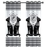 MMHJS Cortinas Decorativas De Microfibra De Moda Cortina De Doble Capa Gruesa Impermeable Y A Prueba De Aceite 3D Patrón De Mariposa Realista Tela De Sombreado 2 Piezas