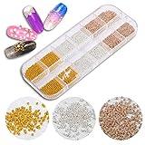 Mini-Edelstahl-Perlen für Nagelkunst, Roségold, Silber, Kaviar, DIY, Nagelperlen, Dekorationen, 3D-Nagelkunst
