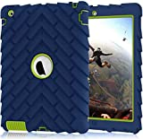 PIXIU Case for iPad 4th genereation, Heavy Duty Shock Absorption Three Layer Armor Protective Defender Case for iPad 2 3 4 Navy Blue