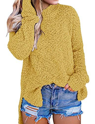MEROKEETY Women's Long Sleeve Sherpa Fleece Knit Sweater Side Slit Pullover Outwears, Mustard, M