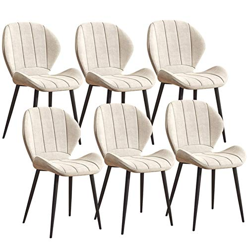 Set of 6 Dining Chairs Soft Velvet Upholstered Fabric Chairs For Home Kitchen Furniture Sturdy Metal Legs Kitchen Chairs (Color : White)
