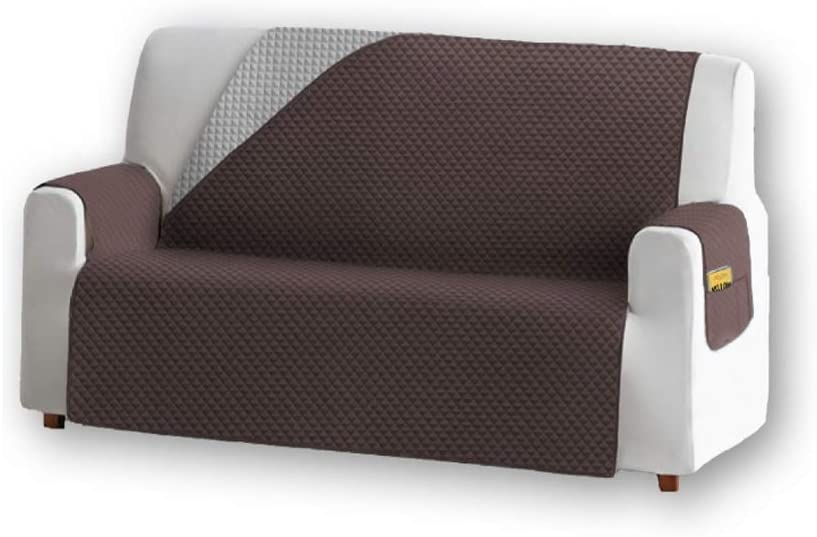 Unishop Funda de Sofa Protector de Sofá Cubre Sofá Bicolor Protector para Sofás Acolchado Reversible para Mascotas Muebles Polvo (Marrón, 2 Plazas)