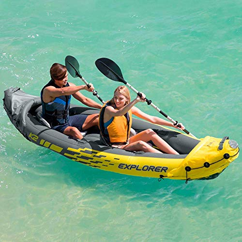 Intex. Kayak canoa scafo gonfiabile Explorer K2 2 posti in PVC accessori 68307NP modello...