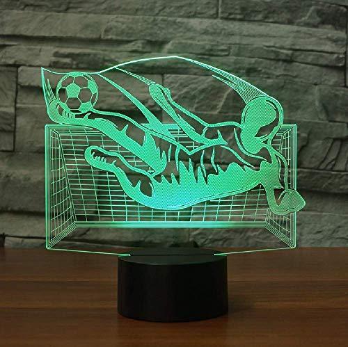 Lámpara de mesa LED de fútbol con ilusión 3D con interruptor táctil con cambio de color 20 Lámpara de mesa con atmósfera de acrílico con luz nocturna 3D