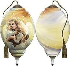 Ne'Qwa Art Hand Painted Blown Glass Ornament, Angel Harp Song