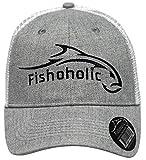 Fishoholic Snapback Baseball Fishing Hat. Bass Trout Salmon in Fresh or Big Fish in Saltwater. Fishaholic (R) TM. (snap-Grey-wht)