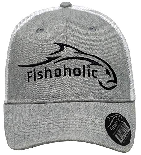 Fishoholic Snapback Baseball Fishing Hat. Bass Trout Salmon in Fresh or Big Fish in Saltwater. Fishaholic (R) TM. (snap-Grey-wht)