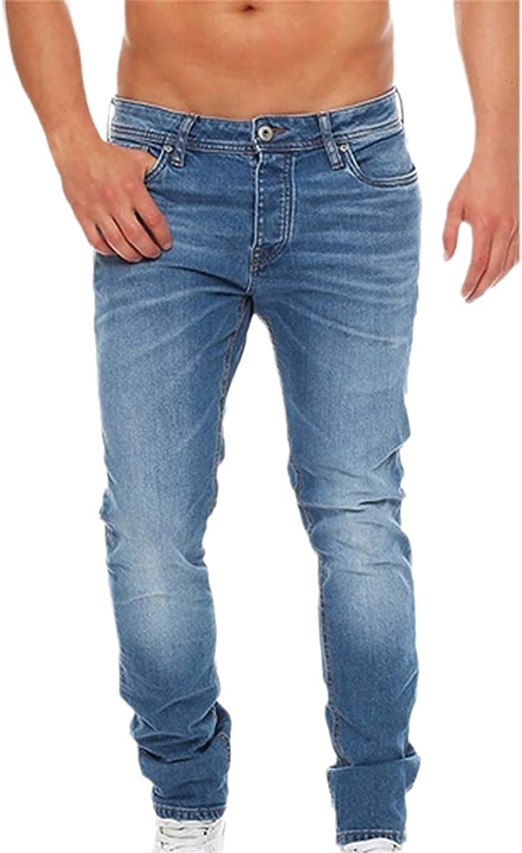 Men's Jeans Summer Button Ripped Shorts Denim Classic Stretch Slim Jeans