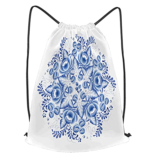 fudin Unisex Wasserdicht Kordelzug Rucksack blaue Blumen Blumen russisches Porzellan rund Turnbeutel Sporttasche für Yoga Freien Schule Strand Schwimmen