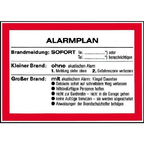 Aushang Alarmplan für Brandmeldung Größe 29,70 cm x 21,00 cm Kunststoff [Hart-PVC], witterungsbeständig