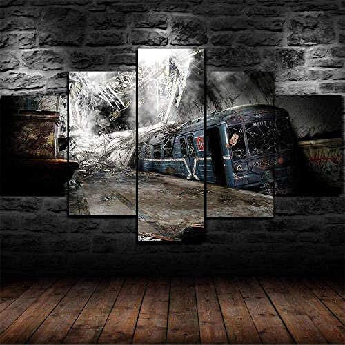 SESHA Prints On Canvas 5 Panel Creative Gift Abandoned Underground Railway Train Poster Painting For Home Modern Decor Print(Sin Marco)