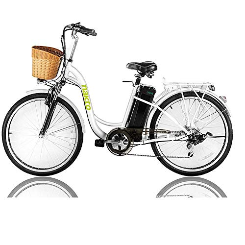 NAKTO 26'' Electric Bicycle Sporting 6-Speed Gear ebike with 250W Motor 36V 10AH Removable Lithium Battery,Electric Bicycle with Charger