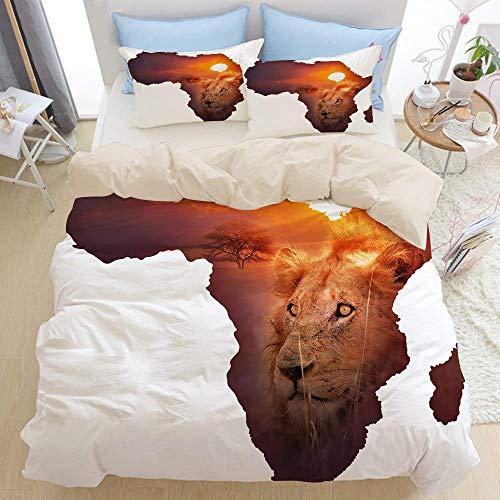 Yaoni Juego de Cama de 3 Piezas, diseño de Mapa de Vida Silvestre de África, Juego de Funda nórdica con Cremallera de Lujo Moderno con 2 Fundas de Almohada El último Juego de edredón de m