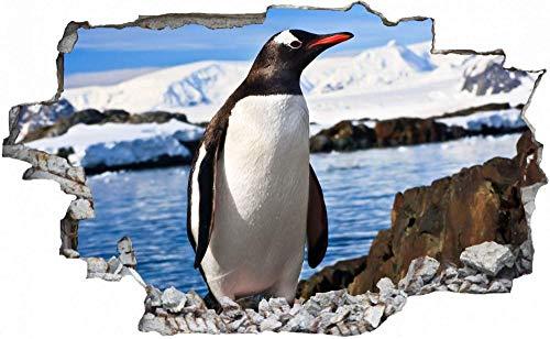 Pegatinas de Pared 3D,Tatuajes de Pared Etiqueta de la Pared Decorativas para Dormitorio Habitación de los niños de Papel de Pared Desmontable,Hielo ártico pingüino 50x75cm