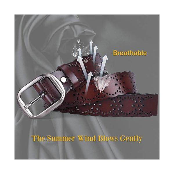 JASGOOD Women's Hollow Flower Leather Belt 2